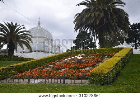 San Francisco, Usa- July 1, 2019: View Of The Conservatory Of Flowers, A Greenhouse And Botanical Ga