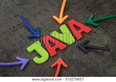 Java Modern Programming Language For Software Development Or Application Concept, Multi Color Arrows