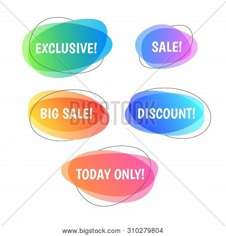 Colorful Sale Tags Set. Vector Stickers For Retail - Discount Price Labels With Text In Bubble. Onli