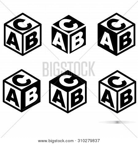 Abc Block Sing On White Background. Flat Style. Abc Cubes Icon For Your Web Site Design, Logo, App,
