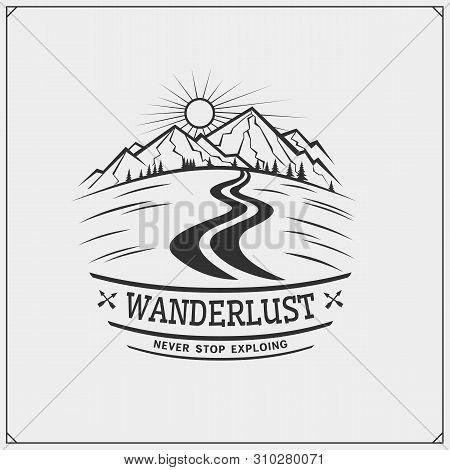 Mountain Tourism Club Emblem. Outdoor Adventure And Wanderlust. Print Design For T-shirt.