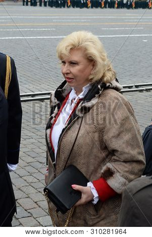 Moscow, Russia - May 9, 2019: Commissioner For Human Rights In The Russian Federation Tatiana Moskal
