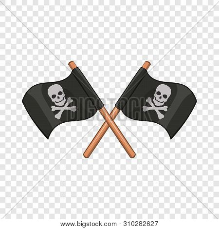 Crossed Pirate Flags With Skull And Crossbones Icon. Cartoon Illustration Of Crossed Pirate Flags Wi