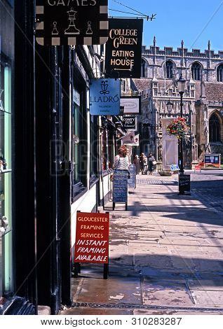Gloucester, Uk - July 19, 1994 - College Street Leading To The Cathedral (cathedral Church Of St Pet