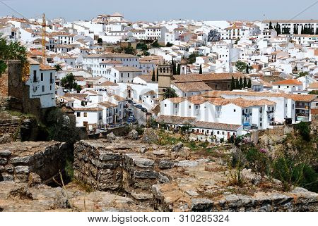 Ronda, Spain - May 5, 2008 - View Along The Old Bridge Towards The Church Of Nuestro Padre Jesus And