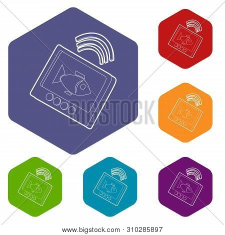 Echo Sounder Icons Vector Colorful Hexahedron Set Collection Isolated On White
