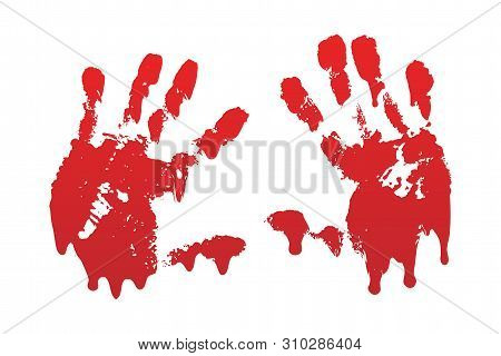 Bloody Hand Print Set Isolated White Background. Horror Scary Blood Handprint, Fingerprint. Red Palm