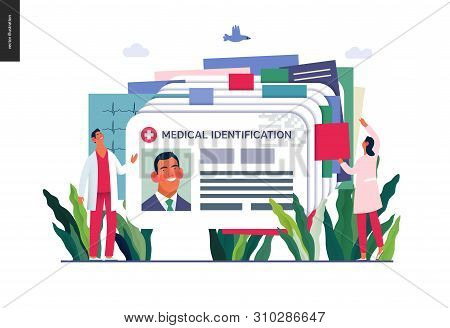 poster of Medical insurance illustration- medical id card, health card -modern flat vector concept digital illustration - a plastic identification card as medical records file metaphor