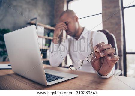 Portrait Of His He Nice Stylish Sad Guy Freelancer Company Organization Founder Sorrow Fail Failure