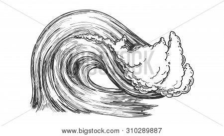 Breaking Atlantic Ocean Marine Wave Storm Vector. Great Giant Water Wave With Foam Underwater Earthq