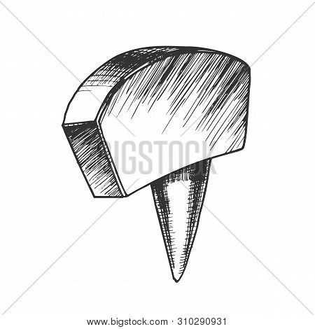 Office Stationery Thumbtack Push Pin Tool Vector. Thumbtack Equipment For Attach On Noticeboard For