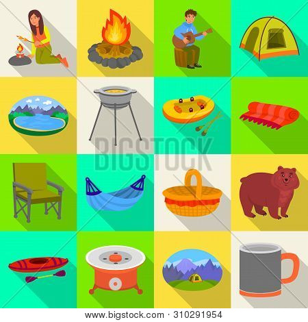 Isolated Object Of Cookout And Wildlife Logo. Collection Of Cookout And Rest Vector Icon For Stock.