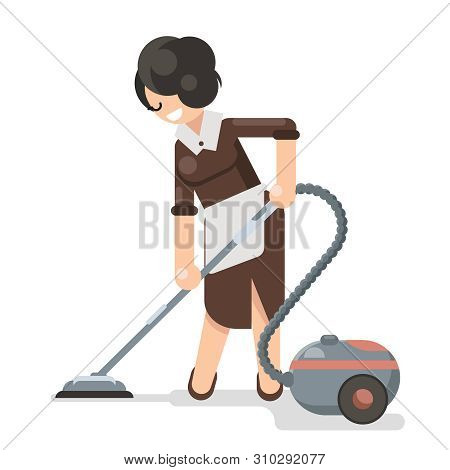 Housemaid Cleaner Vacuum Cleaner Cleanliness Flat Design Character Vector Illustration
