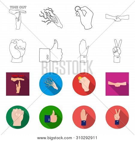 Isolated Object Of Animated And Thumb Sign. Set Of Animated And Gesture Stock Symbol For Web.