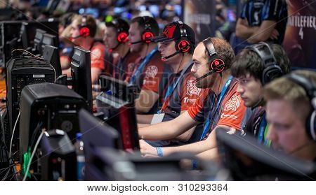 Johannesburg, South Africa, 9th October - 2015: Gamers At Their Computers At An Online Gaming Event.