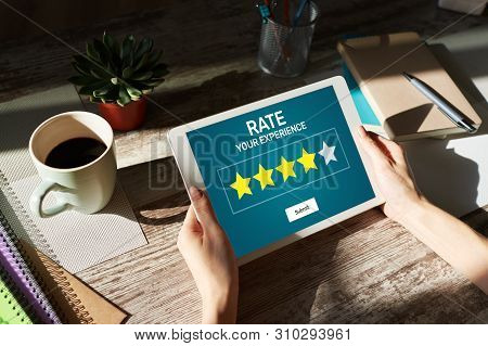 Rate Customer Experience Review. Service And Customer Satisfaction. Five Stars Rating. Business Inte