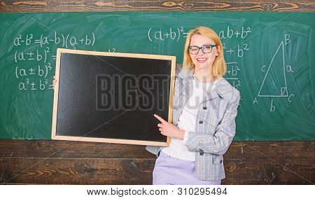 School Information For Incoming Students. Teacher Show School Advertisement. Teacher Woman Hold Blac