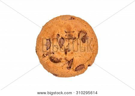 Fresh Chocolate Chip Cookie Isolated On A White Background