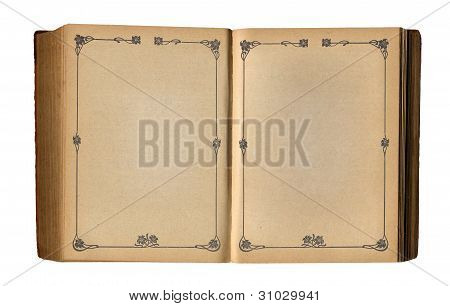 Open Empty Book With Antique Floral Page Frame