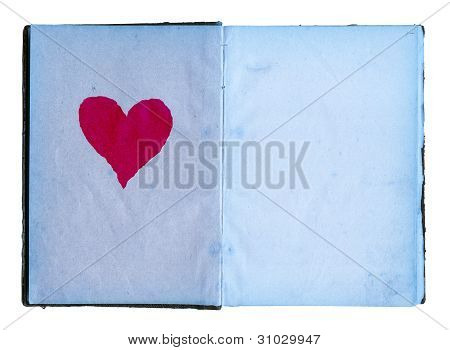 Open Diary With Blue Pages And Big Red Heart