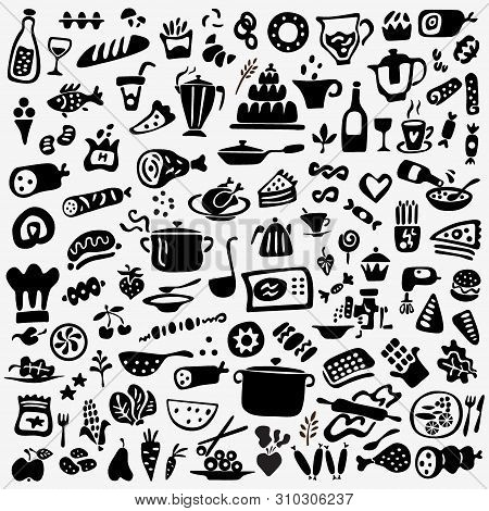 Cookery , Food And Drunk - Graphic Doodles , Icos Set