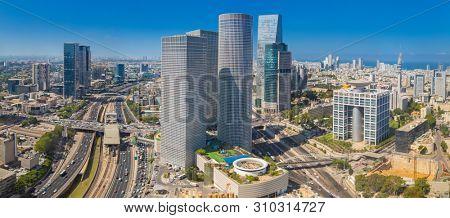 Panorama Of Tel Aviv Skyline,  Tel Aviv Cityscape Large Panorama At Day, Israel