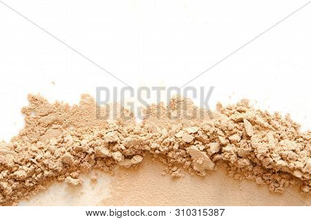 Beige Crashed Face Powder For Makeup As Sample Of Cosmetic Product, Isolated On White Background - I