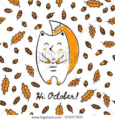 Cute Autumn Hand Draw Squirrel On The Seamless Pattern Of Acorn Leaves And Cones. Vector Background