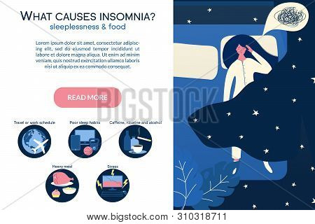 Female Insomniac Lying In Bed At Night. Tired Woman Suffer From Sleeping Disorder, Insomnia, Nightma