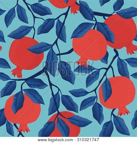 Pomegranate Leaf Seamless Pattern. Red Garnet Seamless Pattern Vector Illustration. Vector Illustrat