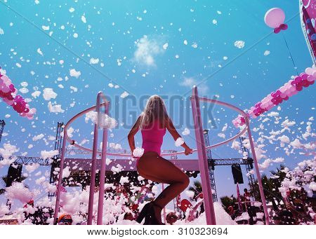 Antalya, Turkey. July 2019: Foam Party On A Beach In The Open Air, Attractive Woman Dancer.