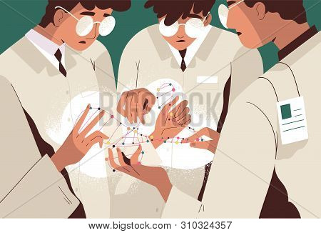 Group Of Scientists Or Researchers In Lab Coats Holding Dna Molecule And Analyzing It. Scientific Re