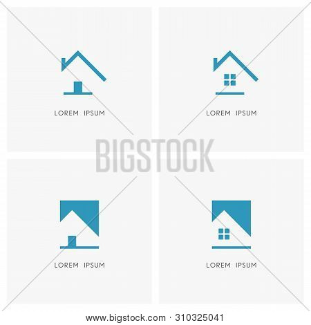 Realty Simple Logo Set. Outline Home With Chimney On The Roof And House With Door And Window Symbol