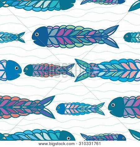 Hand Drawn Rows Of Multicolor Fish In Folk Art Style Design. Seamless Vector Pattern On White Backgr