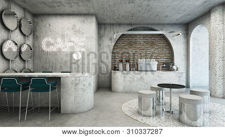 Cafe Shop Modern & Minimal Design,counter Concrete Waiting,neon Text On Concrete Wall,counter Cafe C