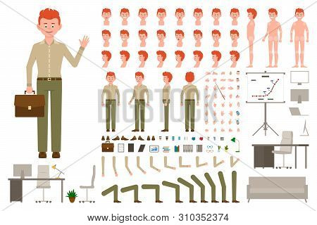 Red Hair Office Worker Cartoon Character Body Parts Creation Set. Waving Young Man In Green Pants Ve