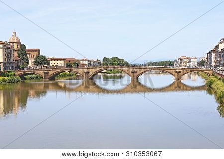 Landscape Of Arno River In Florence Or Firenze City Italy