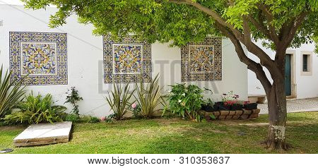 Wall Decorated With Portuguese Azulejo Tiles In Cathedral Of Faro, Algarve, Portugal
