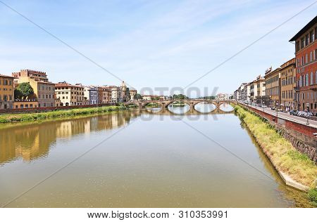Scenery Of Florence Or Firenze City Italy - Buildings Reflected On Arno River