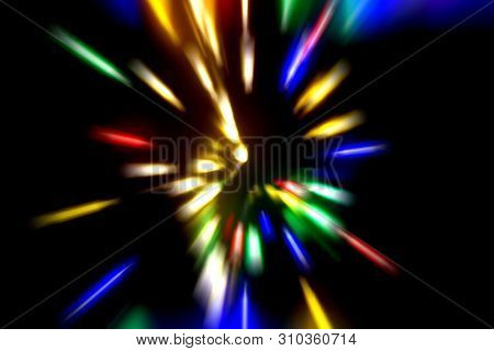 Abstract Science Fiction Outer Space And Time Travel Concept Background. Long Exposure.