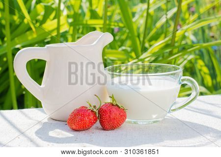 Strawberry Berries, A Jug And A Cup With Milk On A Wooden Table In The Sun