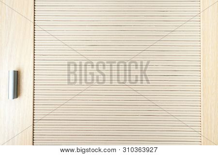 Part Of The Door Of Beige Wooden Slats And Handle, Close Up Wooden Texture