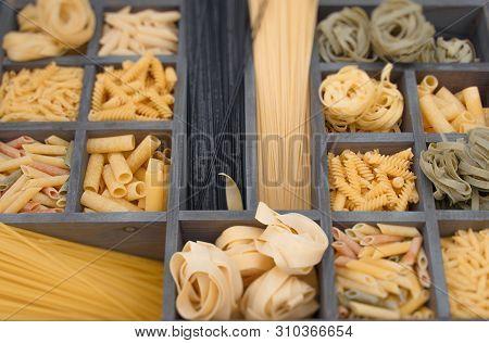 A Collage With Different Stuffed Pasta Such As Fusillini, Sedani Rigati, Spaghetti, Linguine, Fettuc