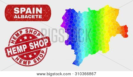 Spectrum Dotted Albacete Province Map And Seal Stamps. Red Round Hemp Shop Distress Seal Stamp. Grad