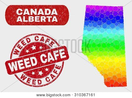 Spectrum Dot Alberta Province Map And Seal Stamps. Red Round Weed Cafe Scratched Stamp. Gradient Rai