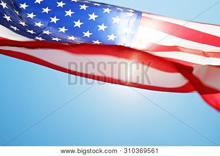 Close Up Of Ruffled American Flag. Patriots Day, Memorial Weekend, Veterans Day, Presidents Day, Ind
