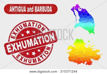 Rainbow Colored Dotted Antigua And Barbuda Map And Seals. Red Rounded Exhumation Scratched Seal Stam