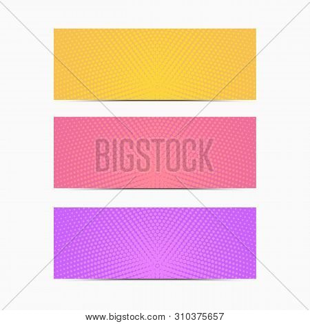Vector Set Of Bright Color Banner In Minimalist Modern Style. Empty Colorful Templates. Trendy Geome