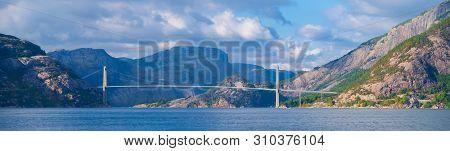 Lysefjord Suspension Bridge Over The Lysefjord. Construction On The 639-metre-long (2,096 Ft) Bridge