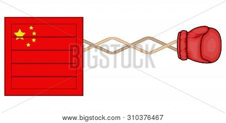 Chinese Wooden Delivery Box With A Surprise Boxing Glove - Vector